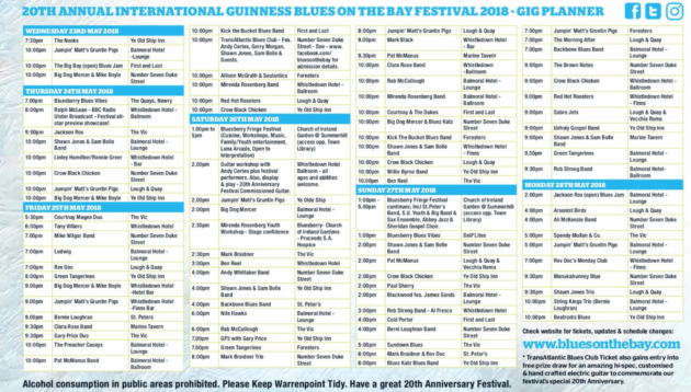 Blues on The Bay 2018 Gig Guide