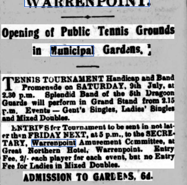 History of Warrenpoint Town Municipal Park Tennis