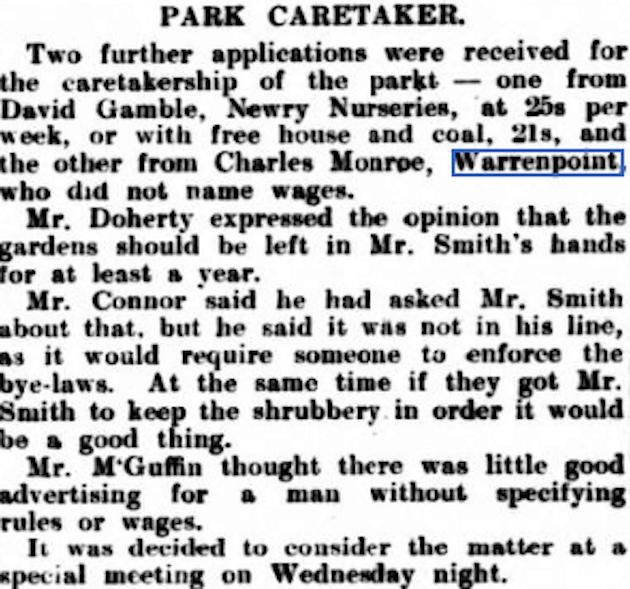 Warrenpoint Park Caretaker 1907