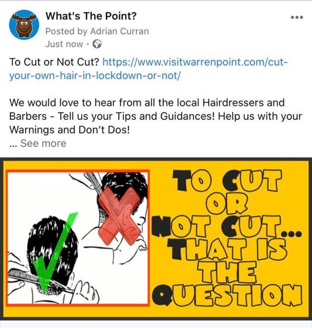 Meme Cut your own Hair Searches Warrenpoint Corona Virus Lockdown