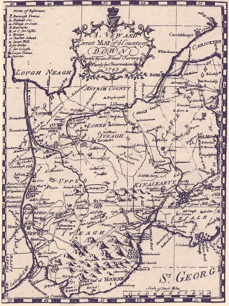 MacGuinness Iveagh Map of County Down 1743